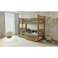 SKLADEM: Dětská patrová postel z MASIVU 200x90cm bez šuplíku - M07 - moření olše