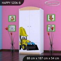 SKLADEM: Dětská skříň BAGR - TYP 6B - zeleno/bílá