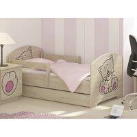 SKLADEM: Dětská postel s výřezem KOČIČKA - růžová 160x80 cm - norská borovice