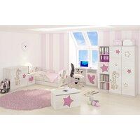 SKLADEM: Dětská postel s výřezem ŽIRAFA se šuplíkem - růžová 140x70 cm