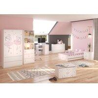SKLADEM: Dětská postel MAX bez šuplíku - 180x90 cm - RŮŽOVÁ BALETKA - bílá + 1 dlouhá a 1 krátká bariérka