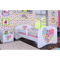 SKLADEM: Dětská postel bez šuplíku 160x80cm KYTIČKY V SRDÍČKU - bílá
