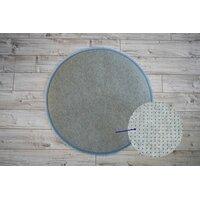 Plyšový kulatý koberec SOFT 90 cm - světle modrý