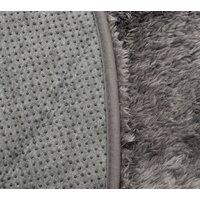 Plyšový kulatý koberec FIREN - šedý