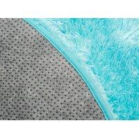 Plyšový kulatý koberec FIREN - tyrkysový