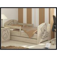 SKLADEM: Dětská postel s výřezem KOČIČKA bez šuplíku - přírodní 140x70 cm + 1 dlouhá a 1 krátká bariérka