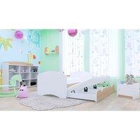 SKLADEM: Dětská postel pro DVA (s výsuvným lůžkem) 180x90 cm - BÍLÁ - BEZ MOTIVU + 1 zábrana