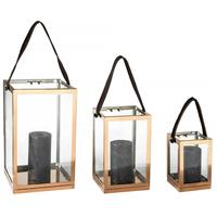 Dekorativní set 3 luceren - kov/sklo - 30 cm / 23 cm / 15 cm