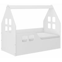 Dětská domečková postel KIDHOUSE - bílá - levá - 140x70 cm + matrace