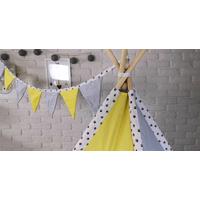 Dětský stan TEEPEE (TÝPÍ) LUXURY s doplňky - TLAPKOVÁ PATROLA - šedo/žlutý