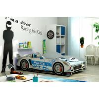 Dětská autopostel CARS POLICEJNÍ HLÍDKA šedá - 160x80 cm + matrace ZDARMA