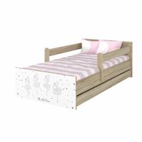 SKLADEM: Dětská postel MAX se šuplíkem - 160x80 cm - RŮŽOVÁ BALETKA - dub sonoma