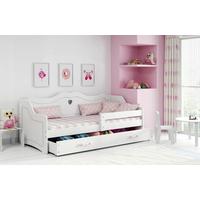 Dětská srdíčková postel JULIETA se šuplíkem 160x80 cm - bílá + MATRACE