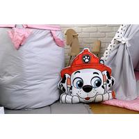 Dětský koš na hračky LUXURY - TLAPKOVÁ PATROLA - šedo/růžový