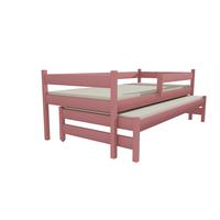 SKLADEM: Dětská postel s výsuvnou přistýlkou z MASIVU 200x90cm SE ŠUPLÍKY - DPV017 - šedá