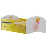 SKLADEM: Dětská postel se šuplíky MEDVÍDEK A MOTÝLCI 160x80 cm - bílo/žlutá