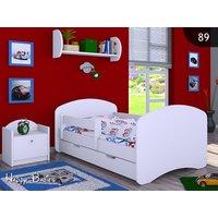 Dětská postel se šuplíkem 180x90cm BEZ MOTIVU - bílá