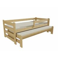 SKLADEM: Dětská postel s výsuvnou přistýlkou z MASIVU 200x90cm SE ŠUPLÍKY - DPV001 - bílá