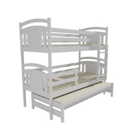 Dětská patrová postel s přistýlkou z MASIVU 200x80cm bez šuplíku - PPV006