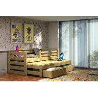 Dětská postel s výsuvnou přistýlkou z MASIVU bez šuplíku - DPV007