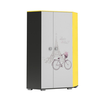 SKLADEM: Šatní skříň PAŘÍŽ - TYP B - grafitová/žlutá