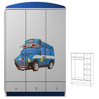 SKLADEM: Šatní skříň POLICEJNÍ AUTO - TYP A - bílá + modrá