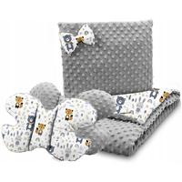 Dětská deka do kočárku s polštářkem a motýlkem - PREMIUM set 3v1 - Lesní zvířátka s šedou minky
