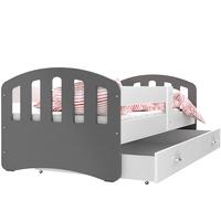 Dětská postel se šuplíkem HAPPY - 200x90 cm - bílo-šedá