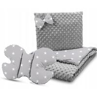 Dětská deka do kočárku s polštářkem a motýlkem - PREMIUM set 3v1 - Bílé hvězdičky s šedou minky