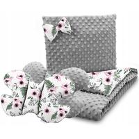 Dětská deka do kočárku s polštářkem a motýlkem - PREMIUM set 3v1 - Makové květy s šedou minky