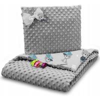 Dětská deka do kočárku s polštářkem a motýlkem - PREMIUM set 3v1 - Malý medvídek s šedou minky