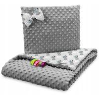 Dětská deka do kočárku s polštářkem a motýlkem - PREMIUM set 3v1 - Medvídek Little boy s šedou minky