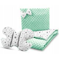 Dětská deka do kočárku s polštářkem a motýlkem - PREMIUM set 3v1 - Mléčná dráha s mátovou minky
