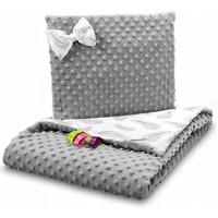 Dětská deka do kočárku s polštářkem a motýlkem - PREMIUM set 3v1 - Peříčka s šedou minky
