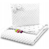 Dětská deka do kočárku s polštářkem a motýlkem - PREMIUM set 3v1 - Šedé hvězdičky s bílou minky