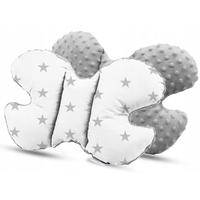 Dětská deka do kočárku s polštářkem a motýlkem - PREMIUM set 3v1 - Šedé hvězdičky s šedou minky