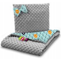 Dětská deka do kočárku s polštářkem a motýlkem - PREMIUM set 3v1 - Skandinávský les zelený s šedou minky