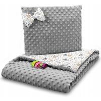 Dětská deka do kočárku s polštářkem a motýlkem - PREMIUM set 3v1 - Zvířecí partička s šedou minky