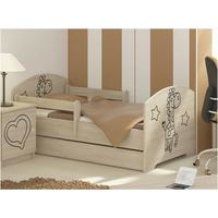 Dětská postel s výřezem ŽIRAFA - přírodní 140x70 cm - dub sonoma + matrace