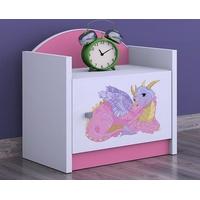 SKLADEM: Dětský noční stolek DRAK - TYP 3 - růžová, orientace dvířek pravá