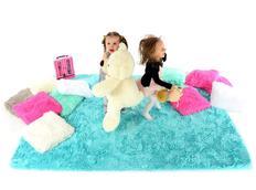 Plyšový dětský koberec TYRKYSOVÝ