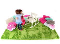 Plyšový dětský koberec ZELENÝ