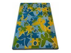 Dětský koberec KIDS Butterfly - modrý