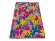 Dětský koberec KIDS Butterfly - růžový