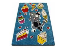 Dětský koberec KIDS Kočička - modrý