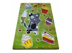 Dětský koberec KIDS Kočička - zelený