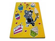 Dětský koberec KIDS Kočička - žlutý