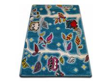 Dětský koberec KIDS Sovičkový les - modrý
