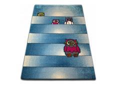 Dětský koberec KIDS Sovičky - modrý