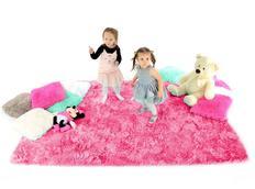 Dětský plyšový koberec TMAVĚ-RŮŽOVÝ